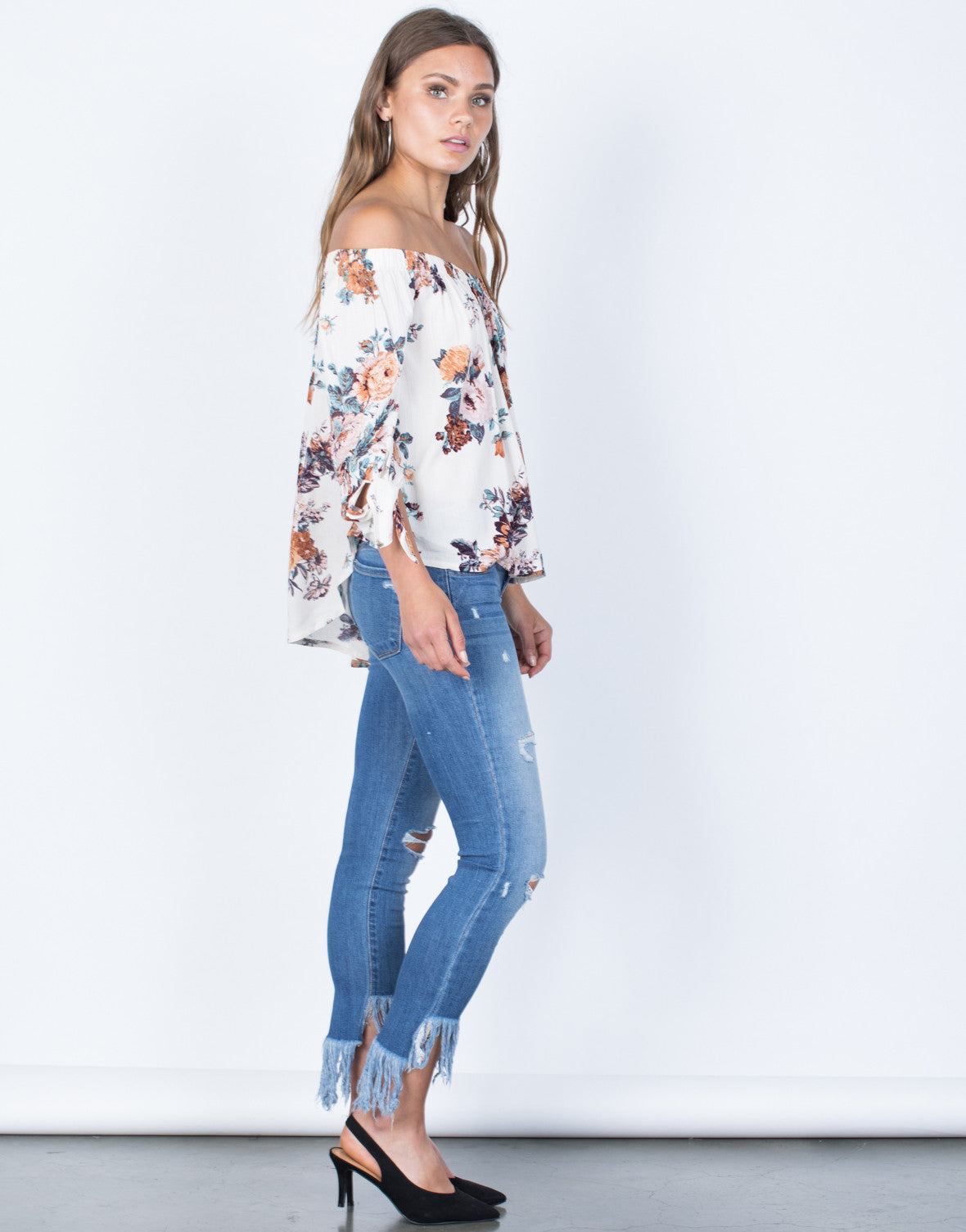 Side View of Caroline Floral Blouse