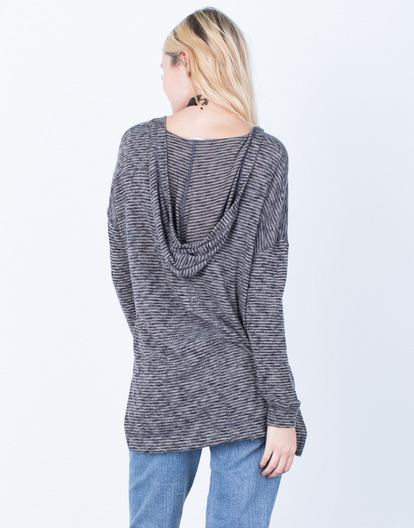 Back View of Casual Brushed Knit Hoodie Top