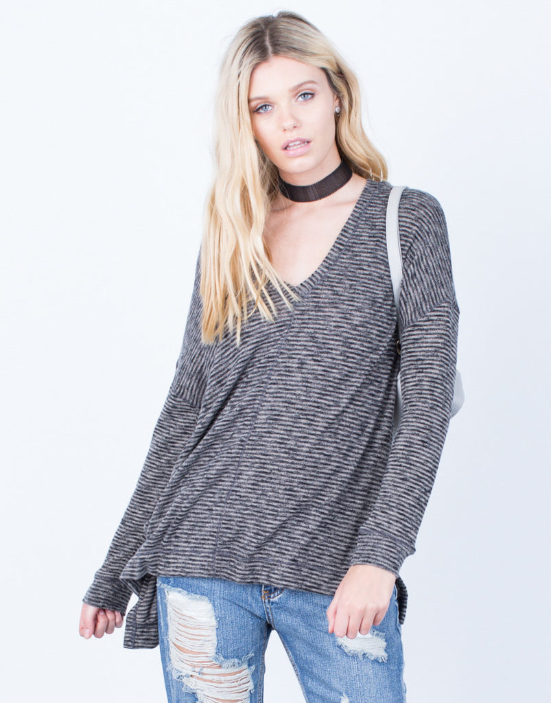 Front View of Casual Brushed Knit Hoodie Top