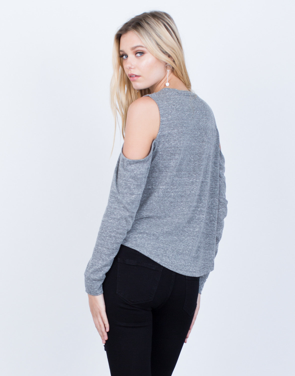 Back View of Casual Cold Shoulder Top