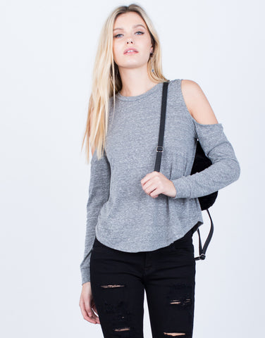 Front View of Casual Cold Shoulder Top