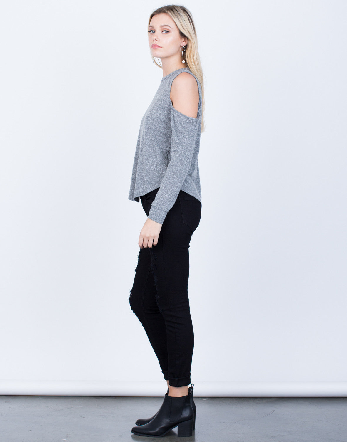 Side View of Casual Cold Shoulder Top