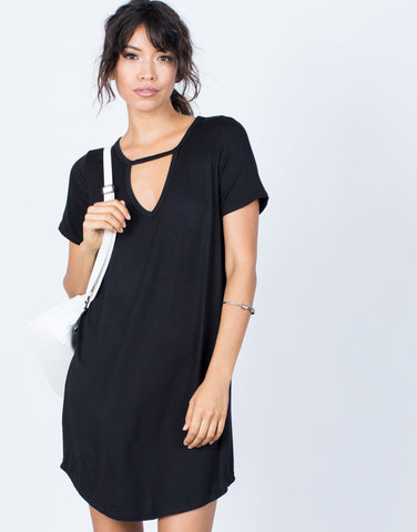 Black Casual Cool Tee Dress - Front View