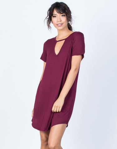 Merlot Casual Cool Tee Dress - Front View