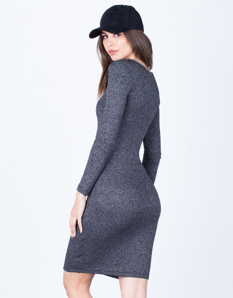 Back View of Casual Knit Bodycon Dress