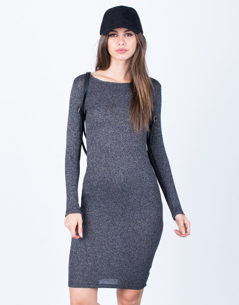 Front View of Casual Knit Bodycon Dress