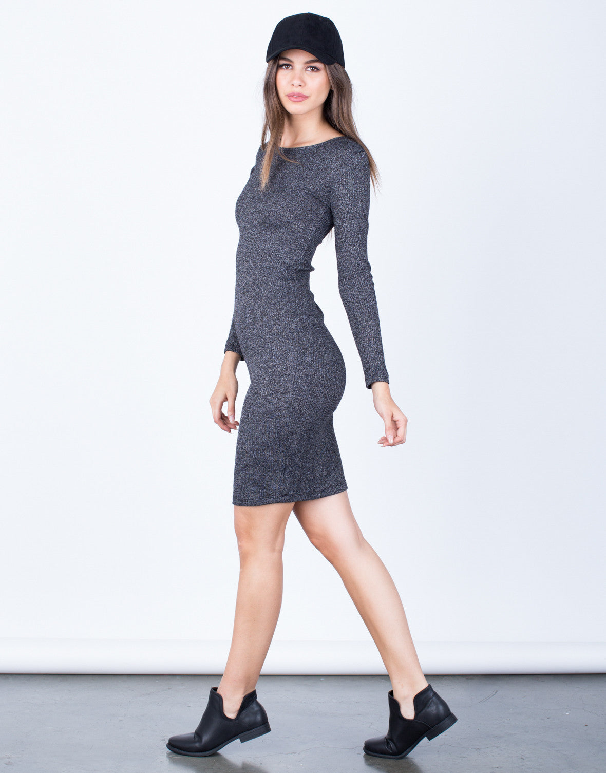 Side View of Casual Knit Bodycon Dress