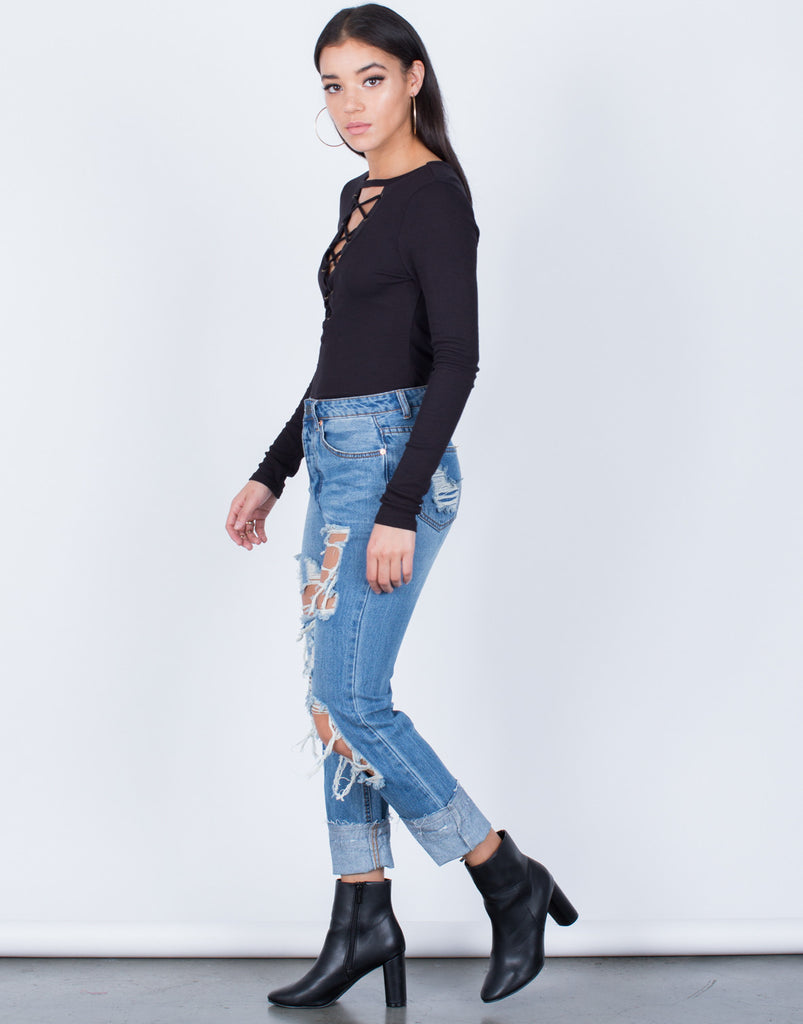 Side View of Casual Lace-Up Top