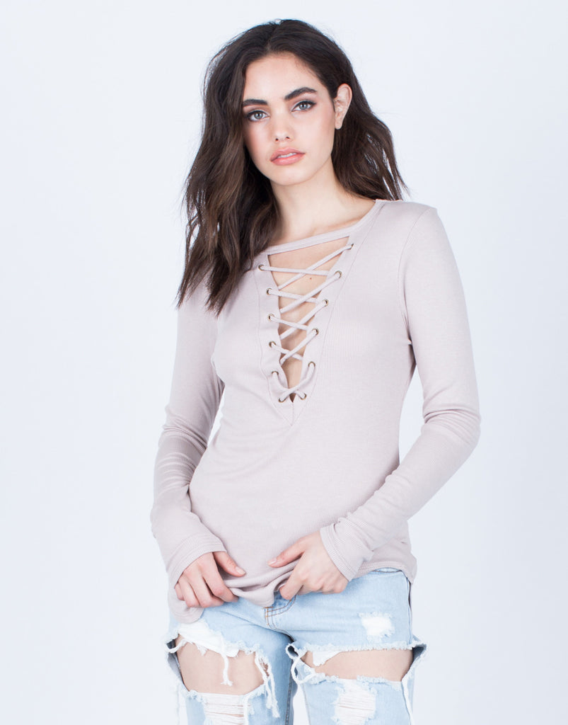 Front View of Casual Lace-Up Top