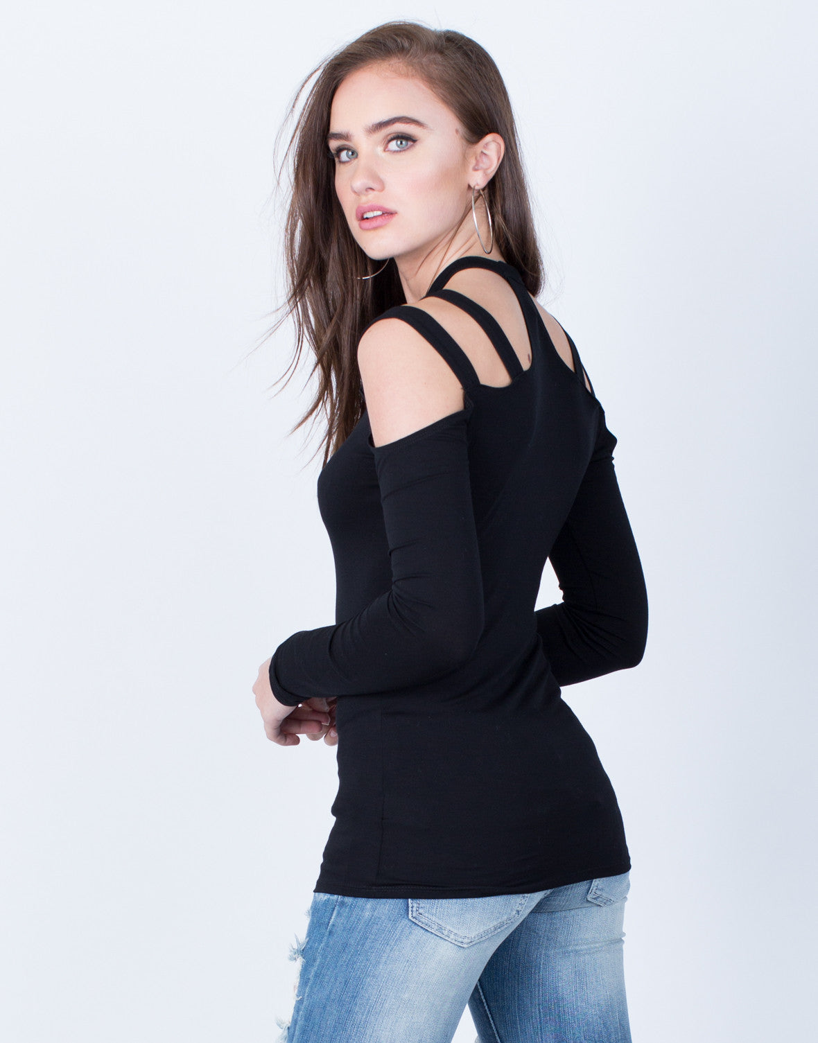 Back View of Casual Mock Neck Top