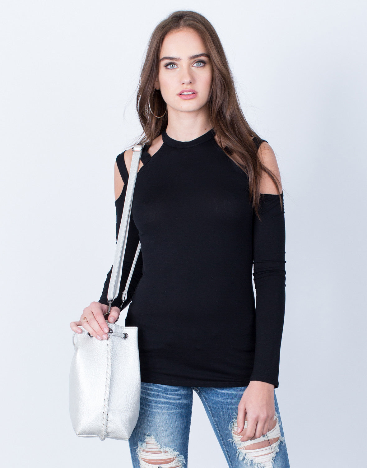 Front View of Casual Mock Neck Top