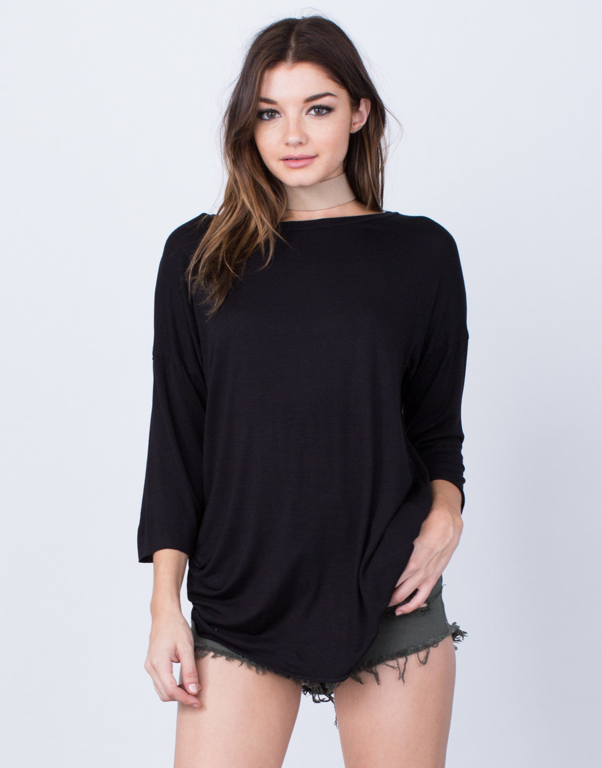 Front View of Casual Oversized Tunic Top