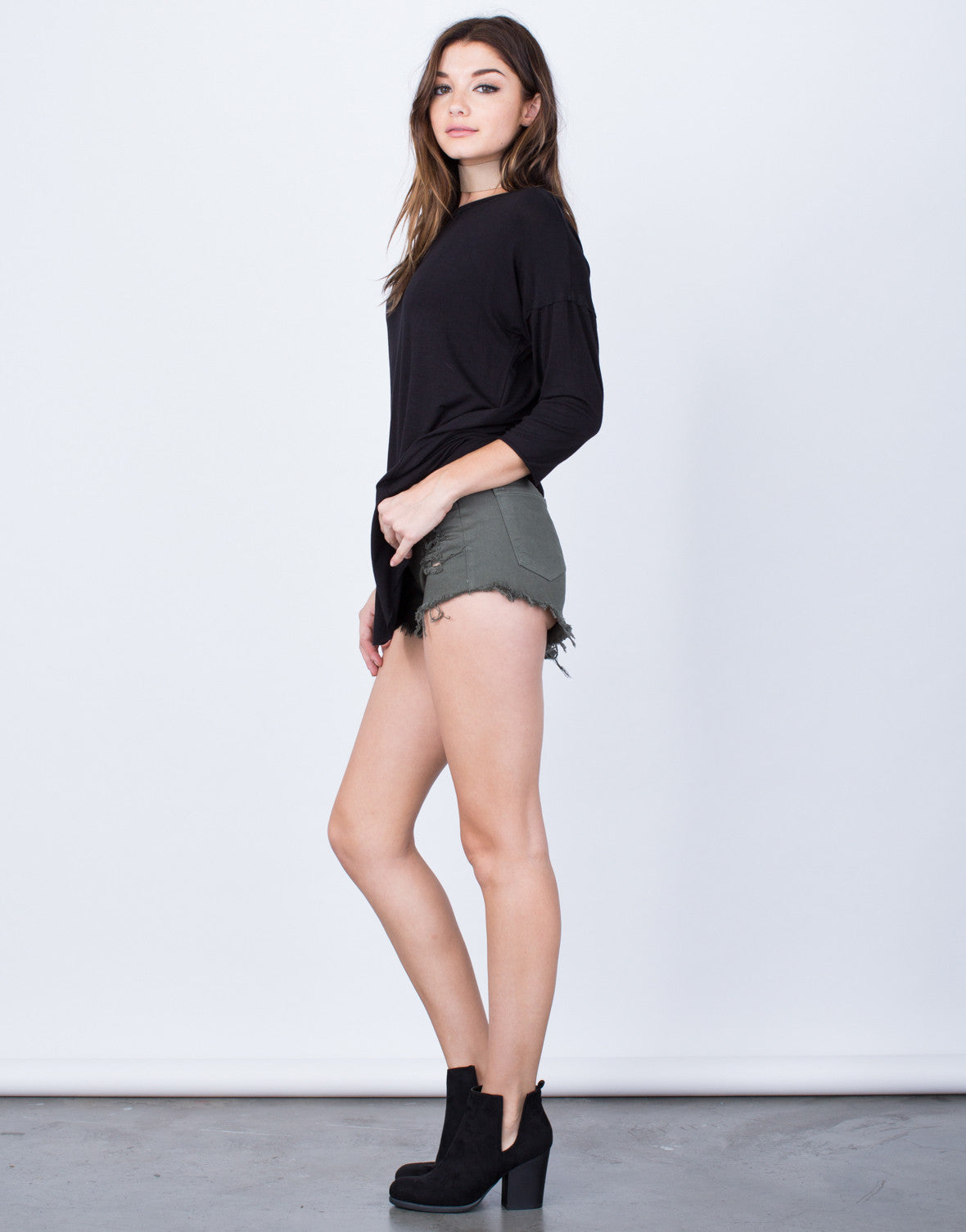 Side View of Casual Oversized Tunic Top
