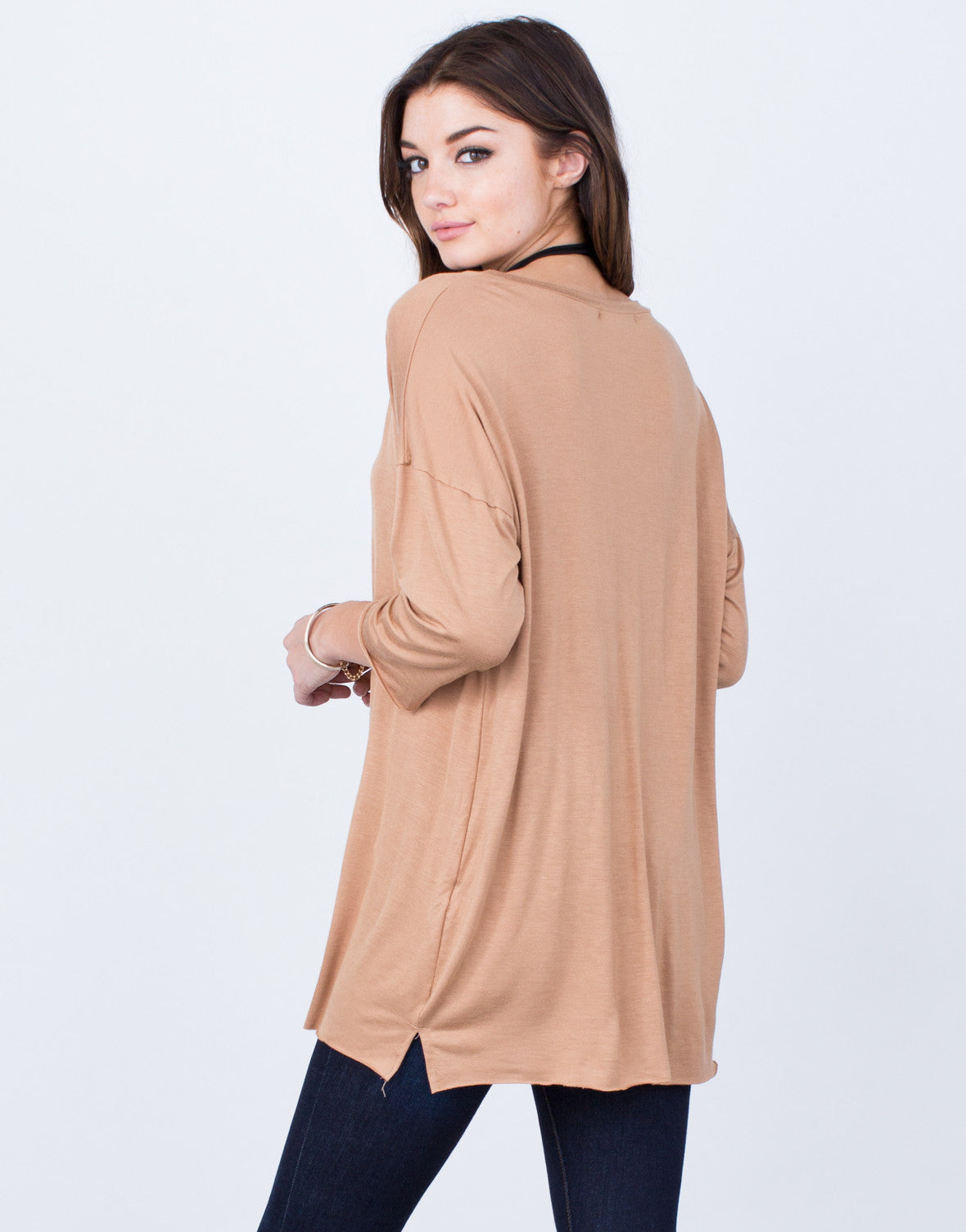 Back View of Casual Oversized Tunic Top