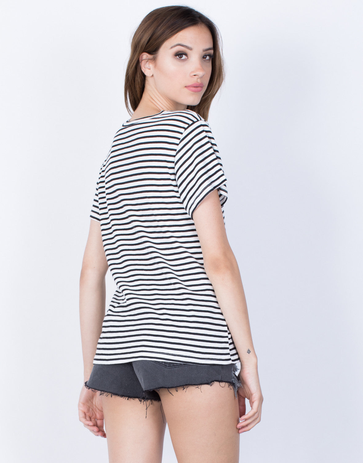 Back View of Casual Striped T-Shirt