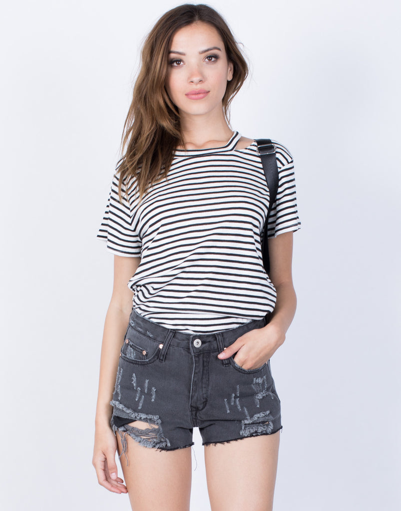 Front View of Casual Striped T-Shirt
