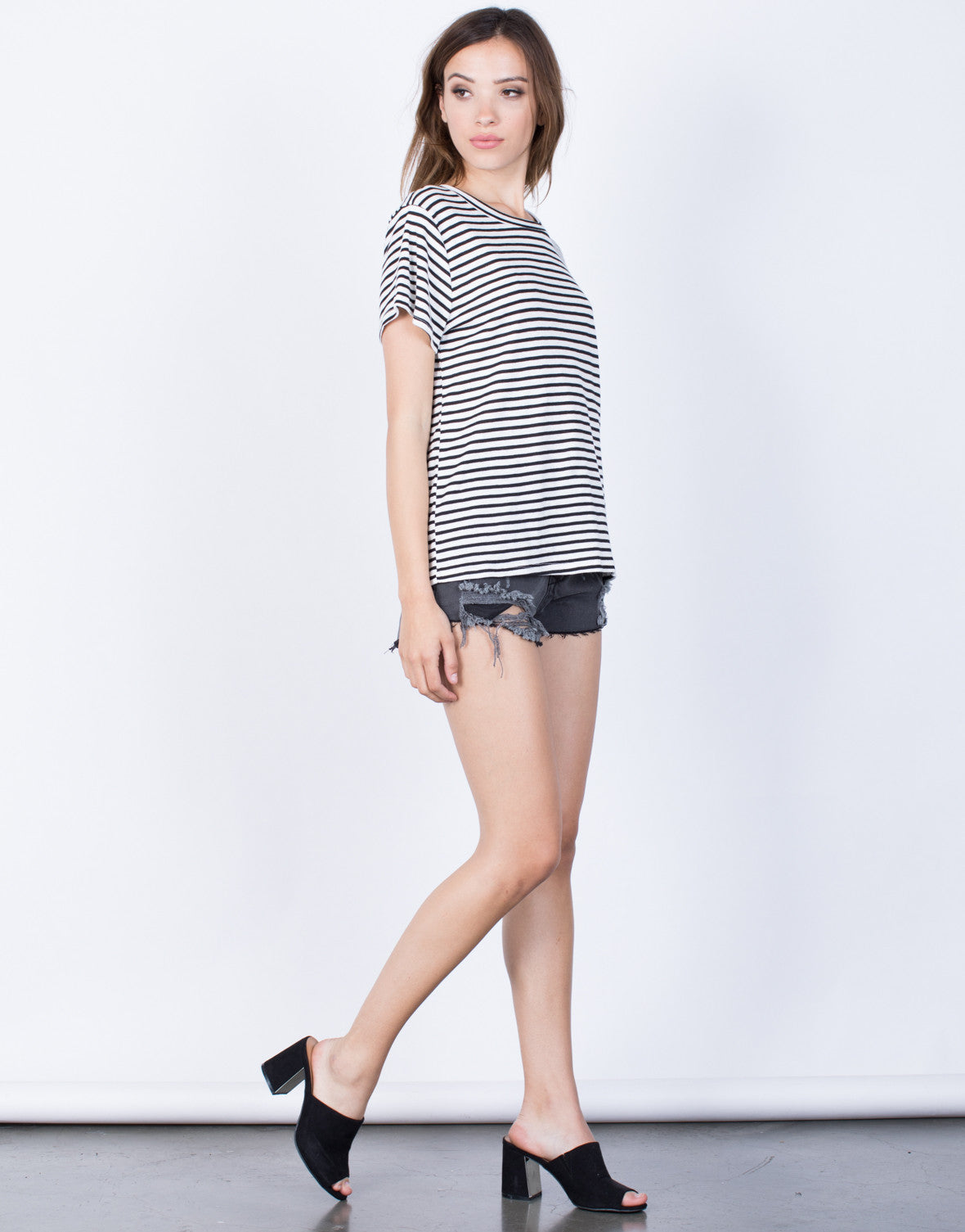 Side View of Casual Striped T-Shirt