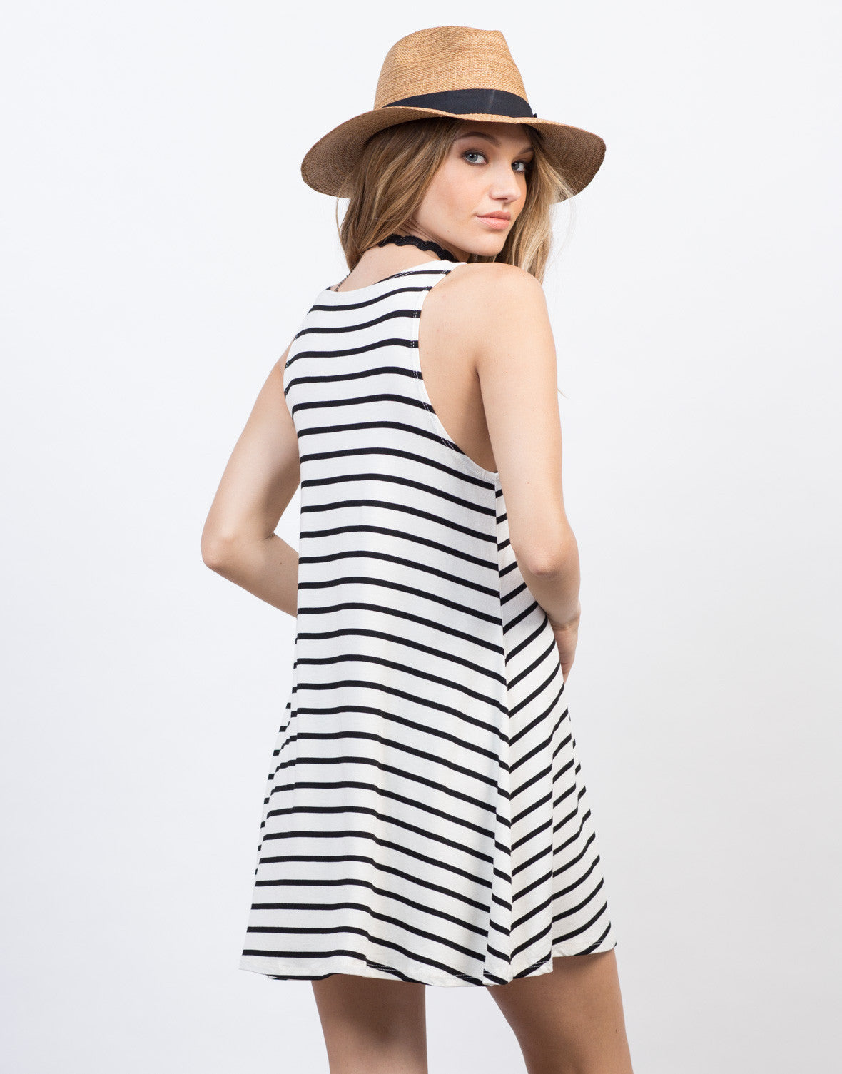 Back View of Casual Striped Tank Dress