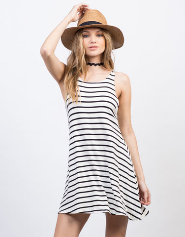 Front View of Casual Striped Tank Dress
