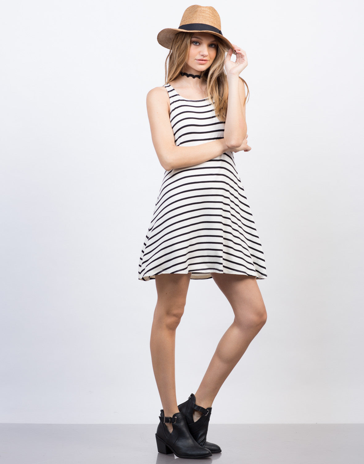 Side View of Casual Striped Tank Dress