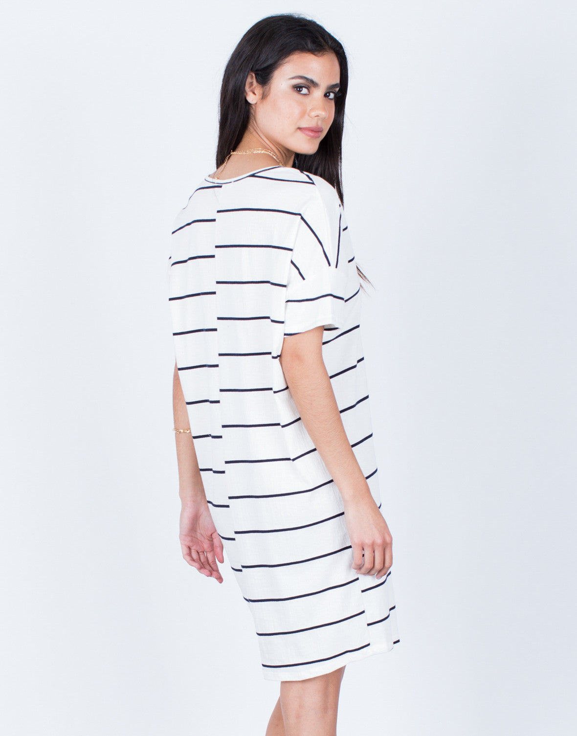 Back View of Casual Striped Tee Dress