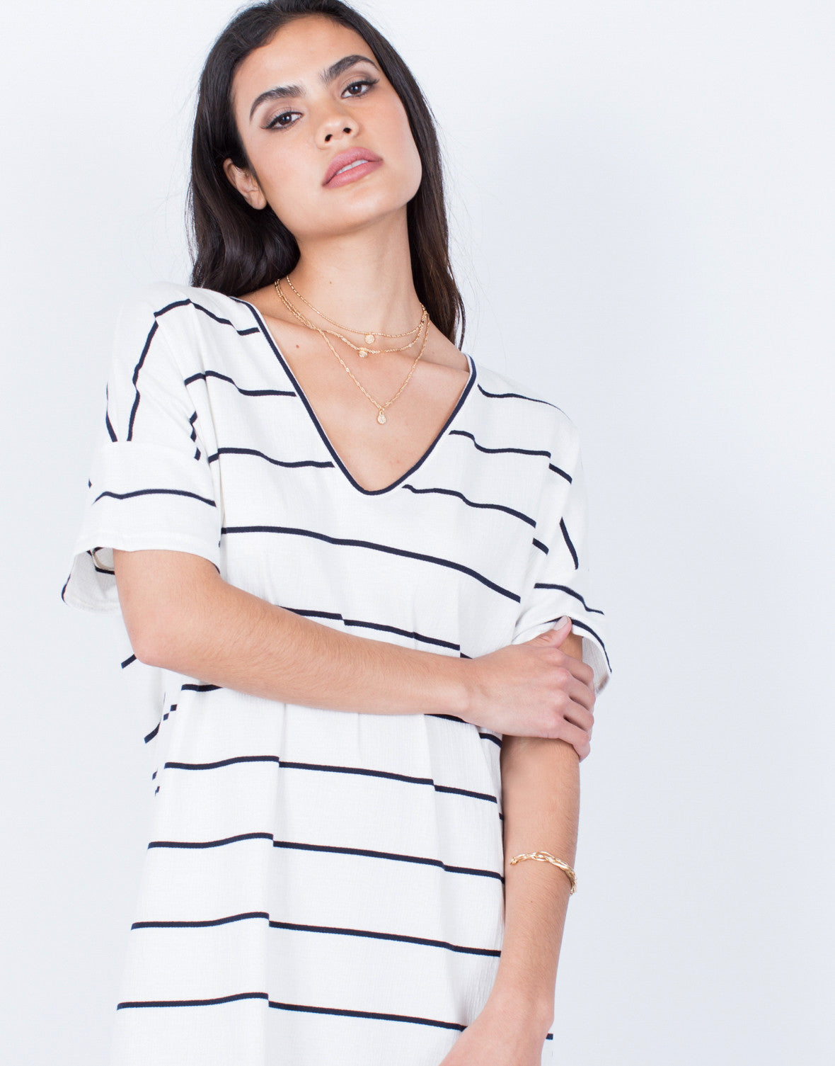 Detail of Casual Striped Tee Dress