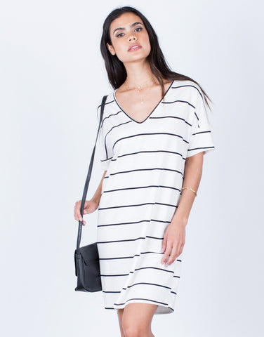 Front View of Casual Striped Tee Dress