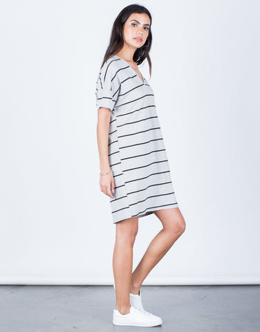 Side View of Casual Striped Tee Dress