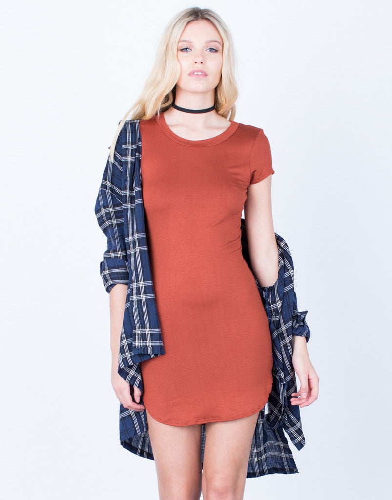 Front View of Casual Tee Dress