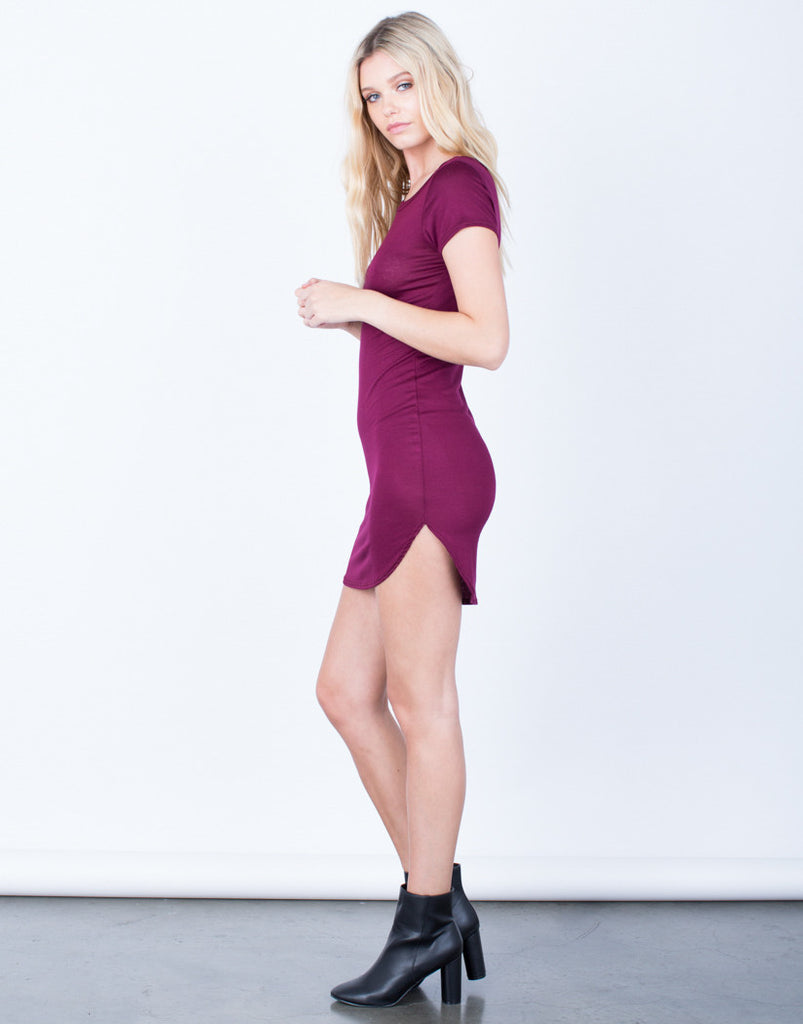 Side View of Casual Tee Dress