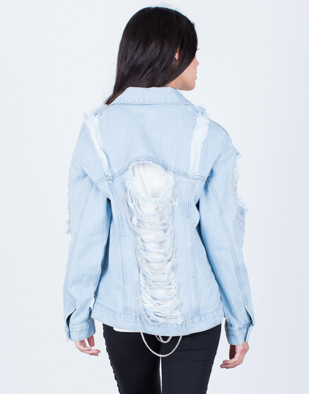 Back View of Chained Denim Jacket