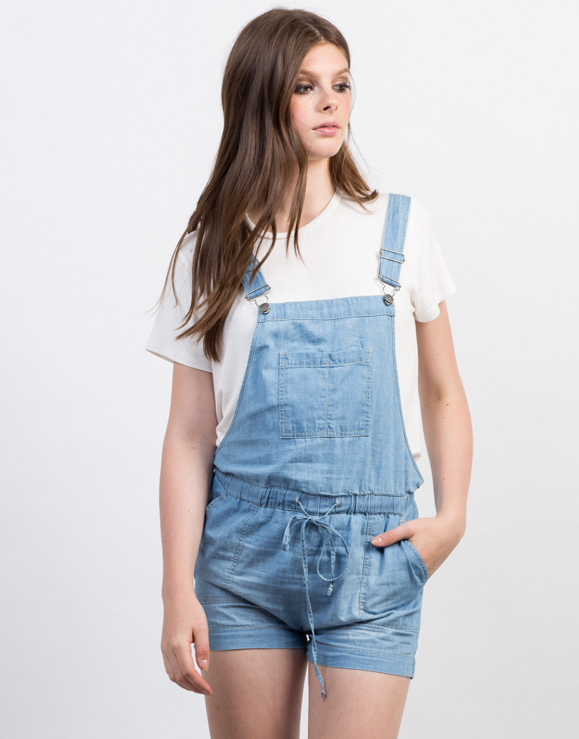 Front View of Chambray Shortalls