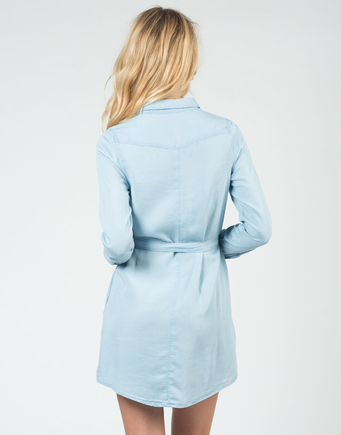 Back View of Chambray Shirt Dress