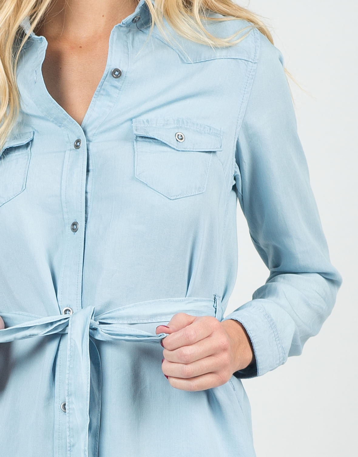 Detail of Chambray Shirt Dress
