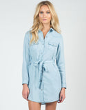 Front View of Chambray Shirt Dress