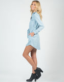 Side View of Chambray Shirt Dress