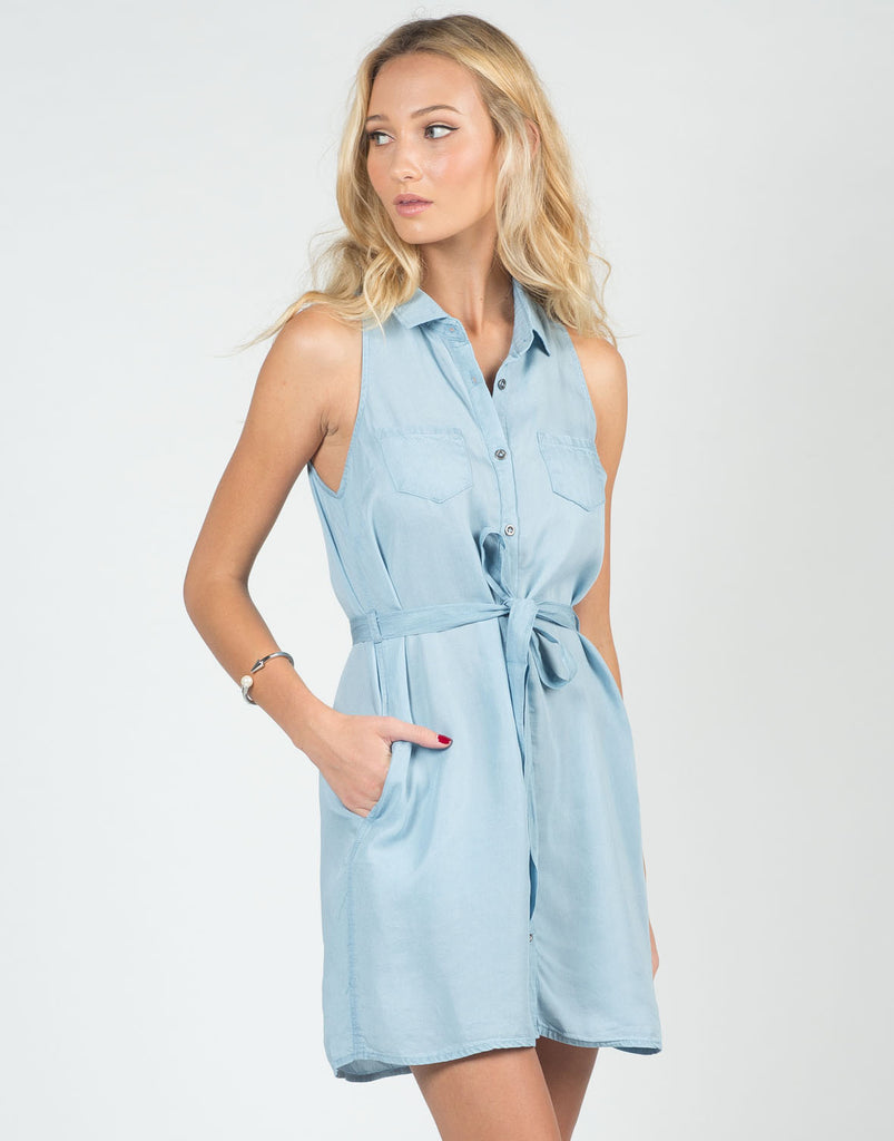 Front View of Chambray Tunic Dress