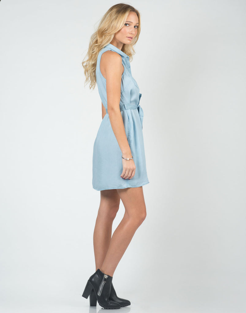 Side View of Chambray Tunic Dress