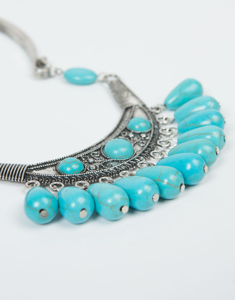 Detail of Chandelier Turquoise Collar Necklace