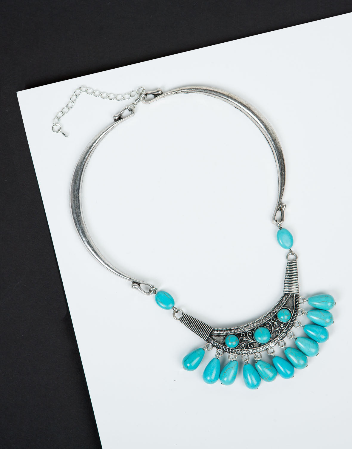 Front View of Chandelier Turquoise Collar Necklace