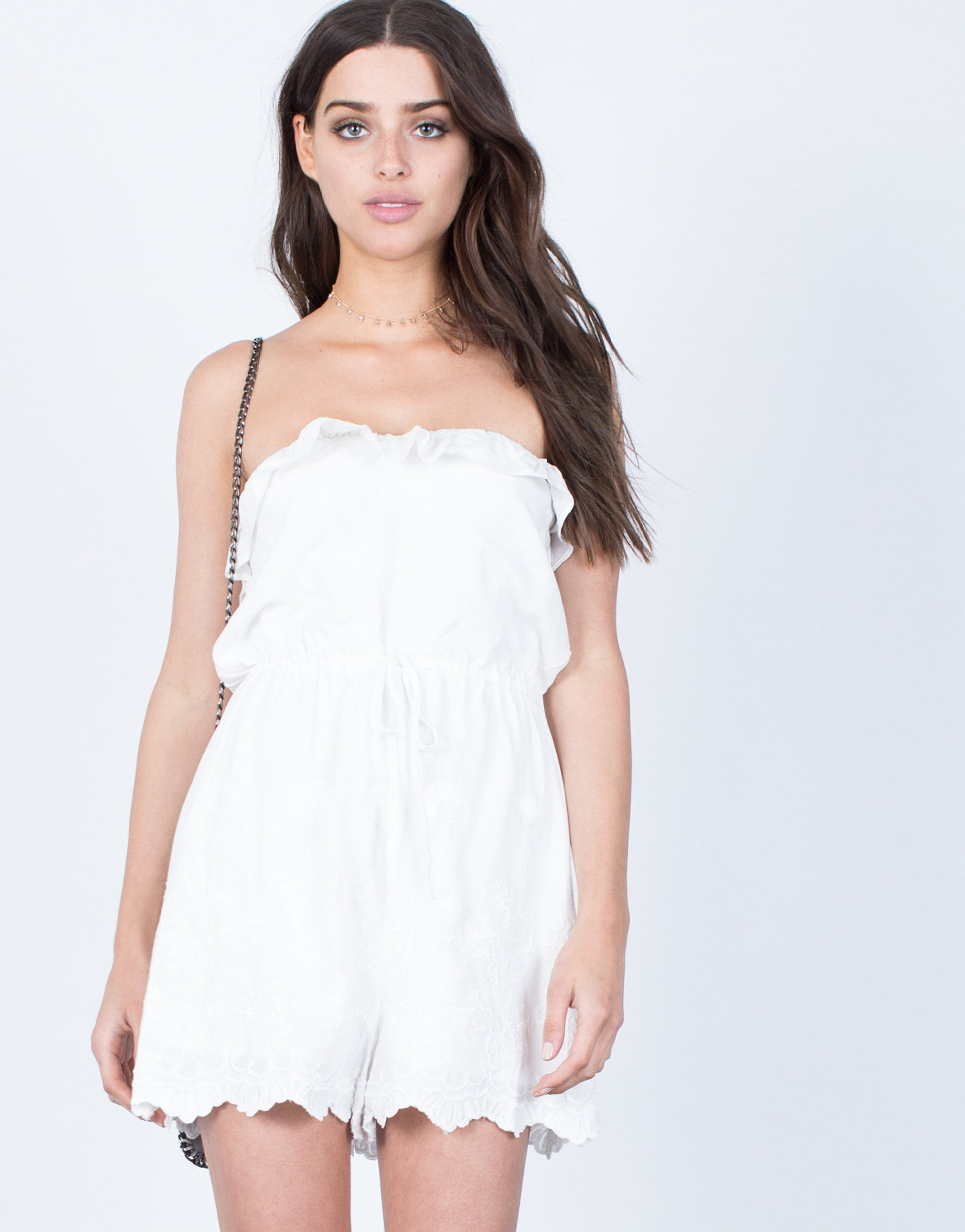 Front View of Charming Embroidered Romper