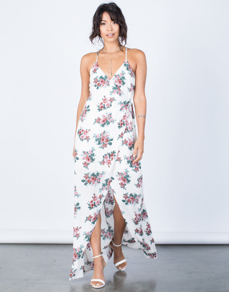 Front View of Charming Floral Wrap Dress