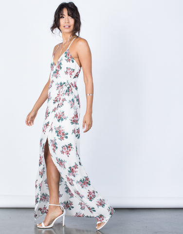 Side View of Charming Floral Wrap Dress