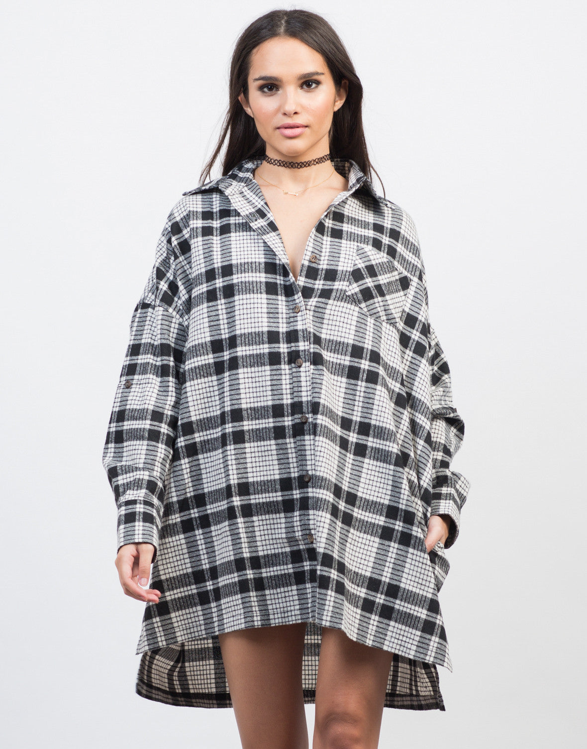 Front View of Checkered Boyfriend Tunic Dress