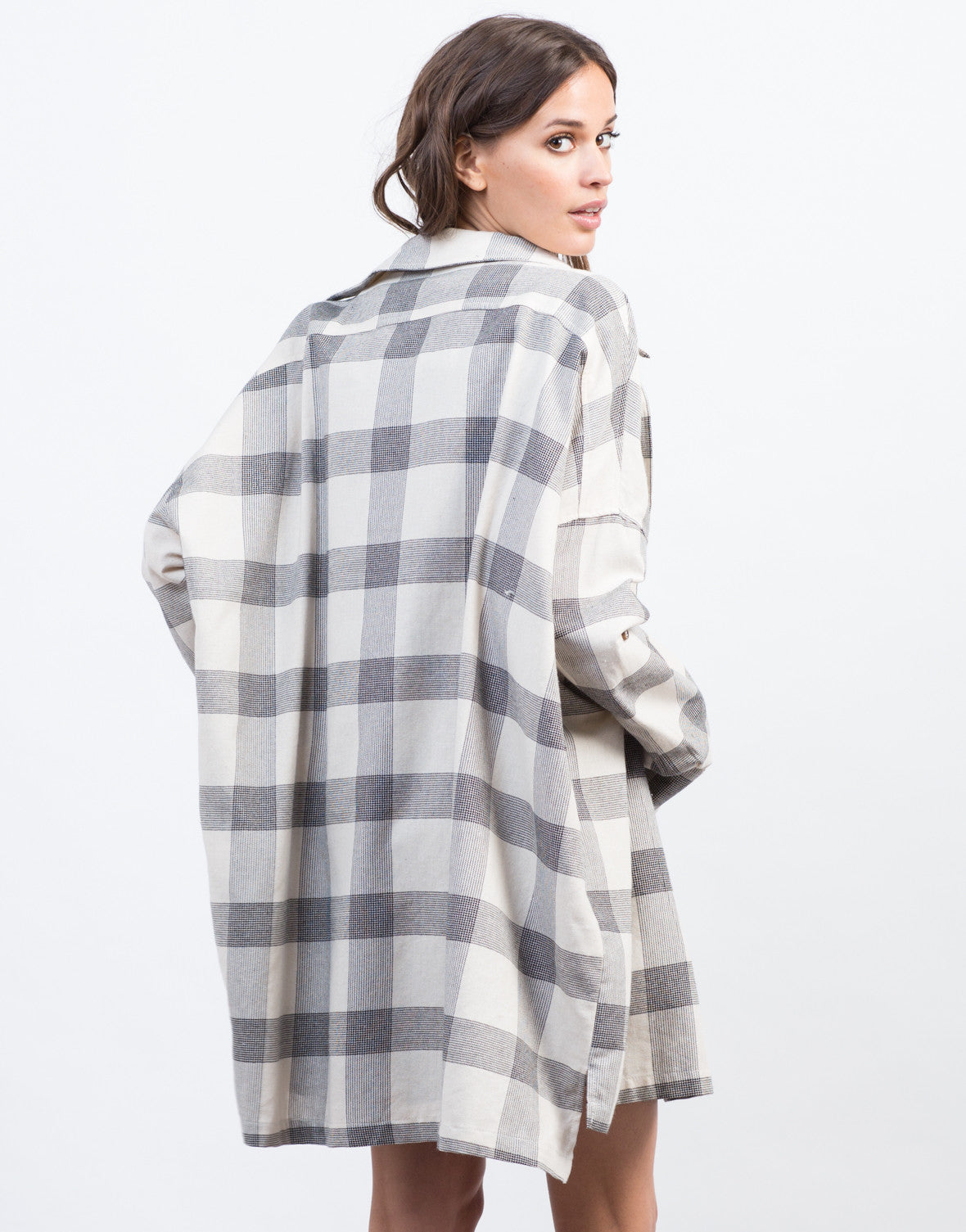 Back View of Checkered Boyfriend Flannel