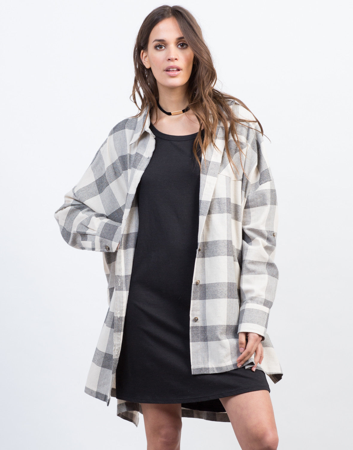 Front View of Checkered Boyfriend Flannel
