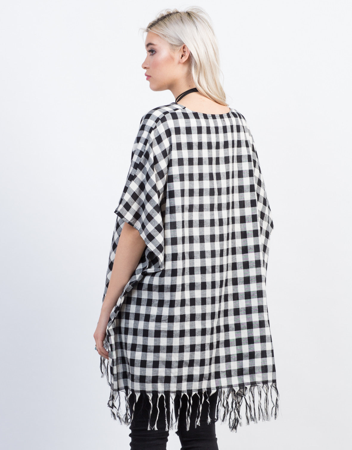 Back View of Checkered Fringe Cardigan