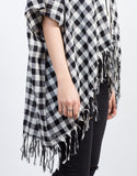 Detail of Checkered Fringe Cardigan