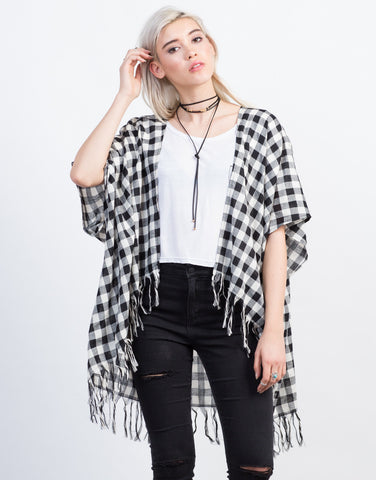 Front View of Checkered Fringe Cardigan