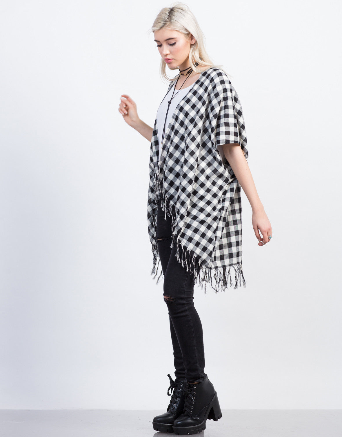 Side View of Checkered Fringe Cardigan